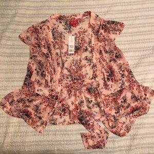 Elle soft pink floral wrap blouse